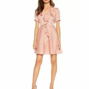 Bardot Satin Stripe Ruffle Mini Dress